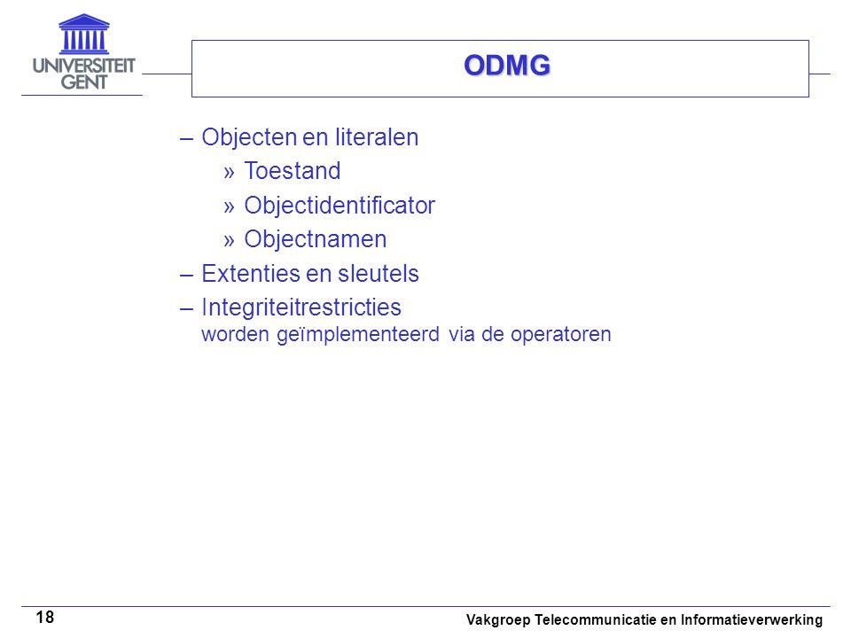 ODMG Objecten en literalen Toestand Objectidentificator Objectnamen