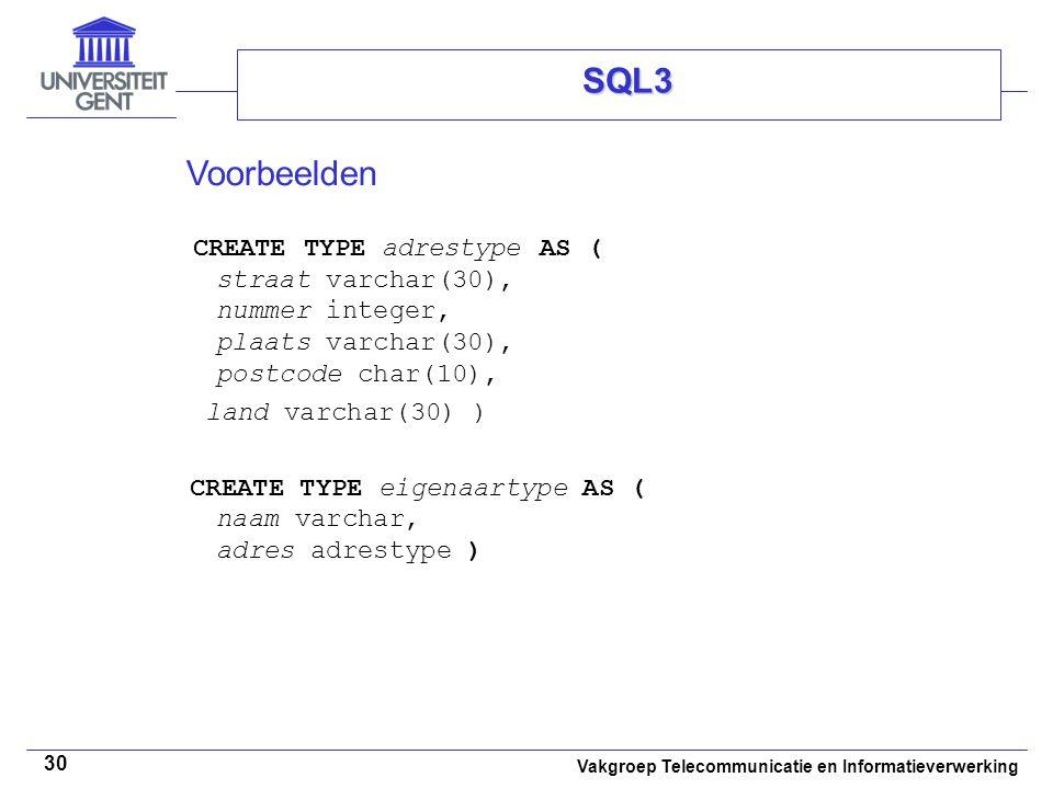SQL3 Voorbeelden CREATE TYPE adrestype AS ( straat varchar(30), nummer integer, plaats varchar(30), postcode char(10),