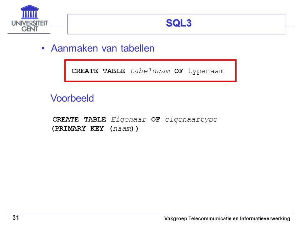 Voorbeeld CREATE TABLE Eigenaar OF eigenaartype (PRIMARY KEY (naam))