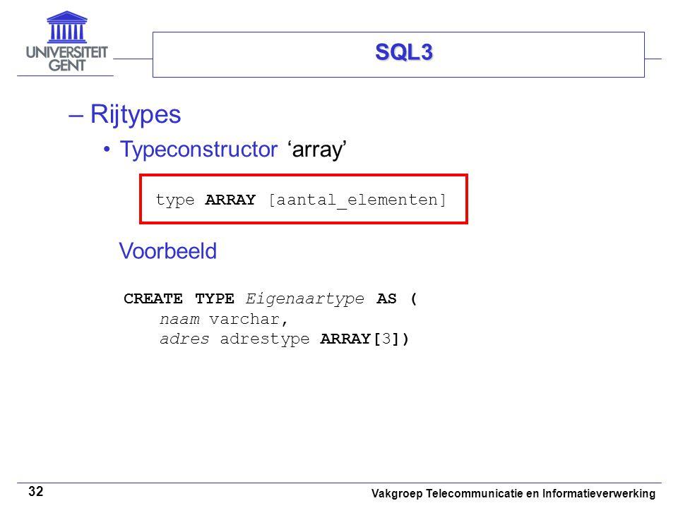 Rijtypes SQL3 Typeconstructor 'array'
