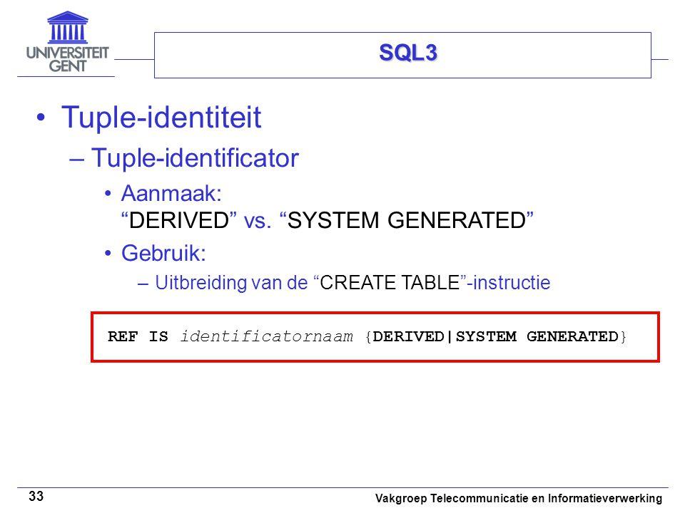 Tuple-identiteit Tuple-identificator SQL3