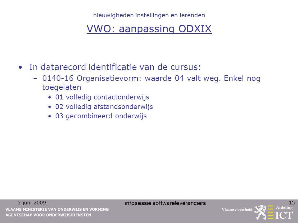 nieuwigheden instellingen en lerenden VWO: aanpassing ODXIX