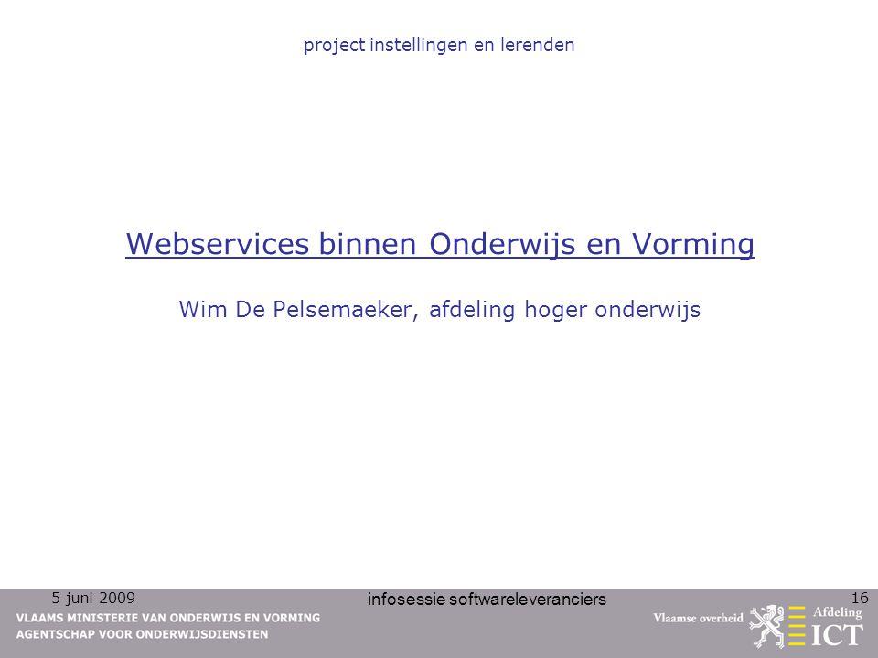 project instellingen en lerenden