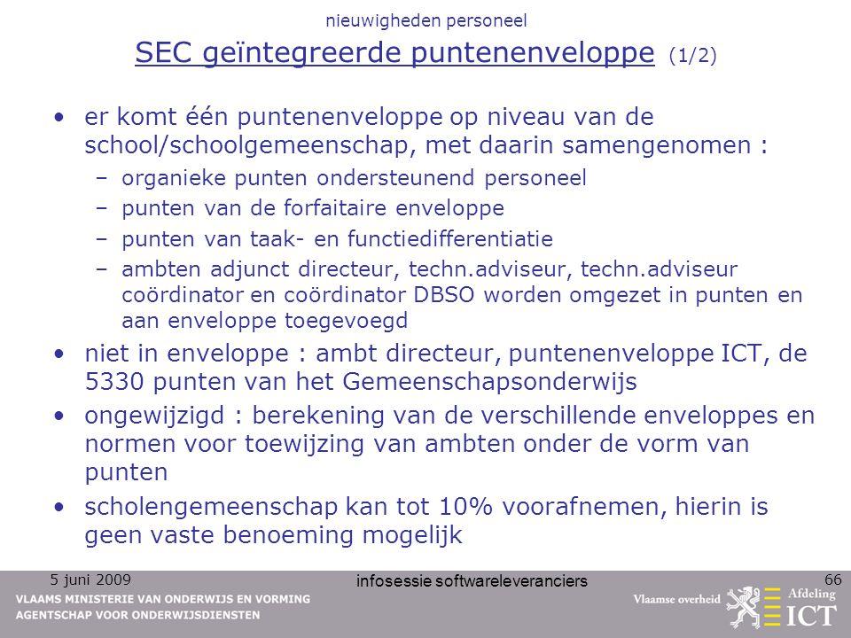 nieuwigheden personeel SEC geïntegreerde puntenenveloppe (1/2)