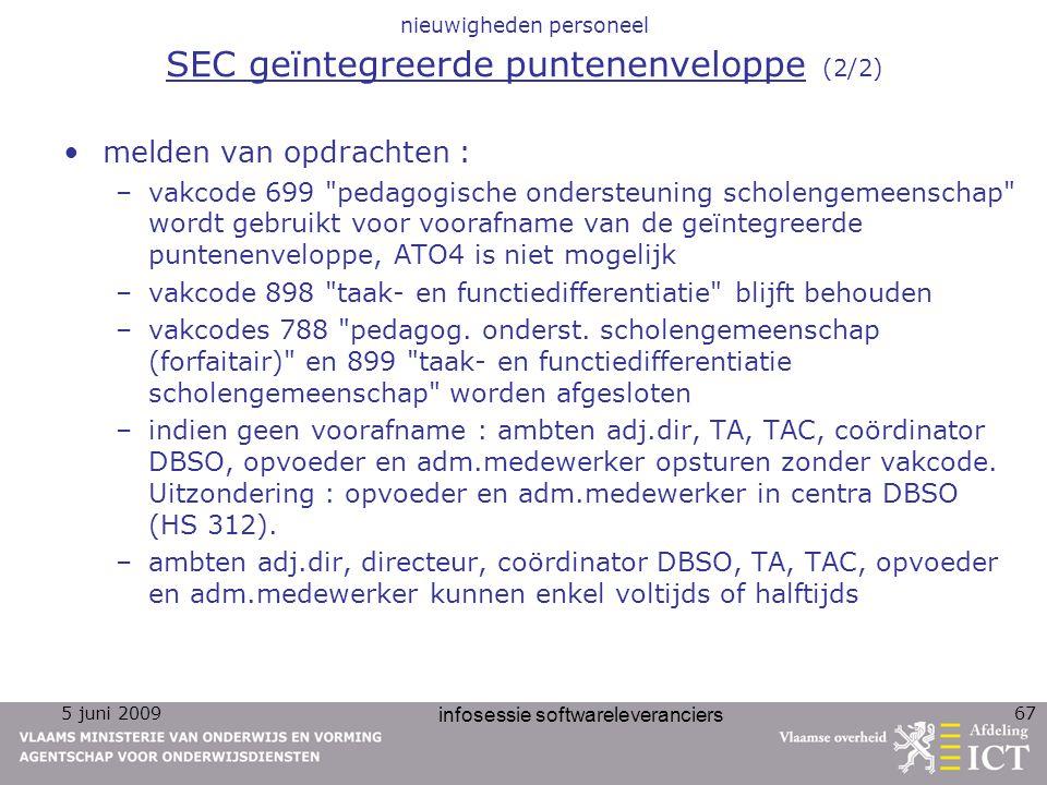nieuwigheden personeel SEC geïntegreerde puntenenveloppe (2/2)