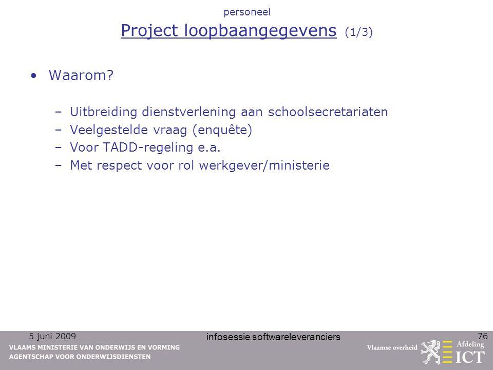 personeel Project loopbaangegevens (1/3)
