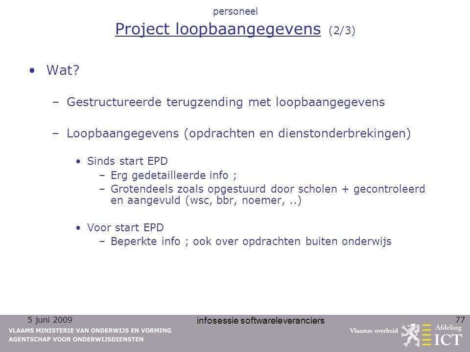 personeel Project loopbaangegevens (2/3)