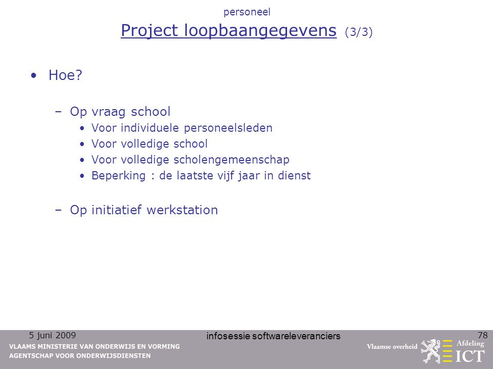 personeel Project loopbaangegevens (3/3)