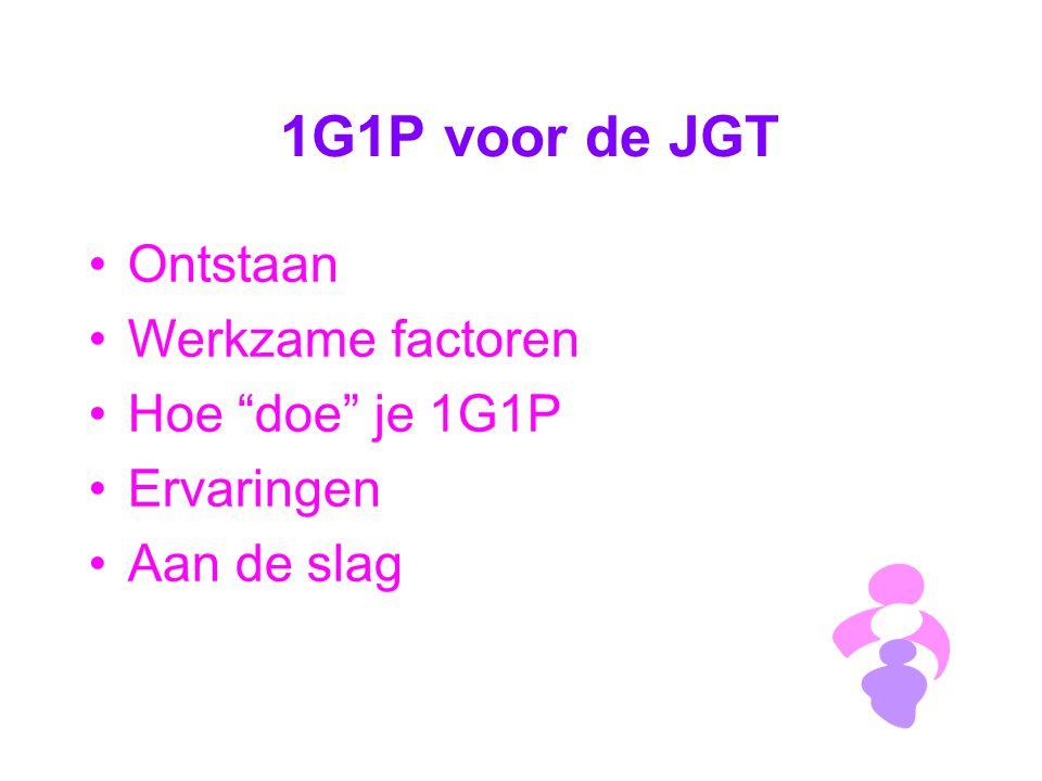 1G1P voor de JGT Ontstaan Werkzame factoren Hoe doe je 1G1P