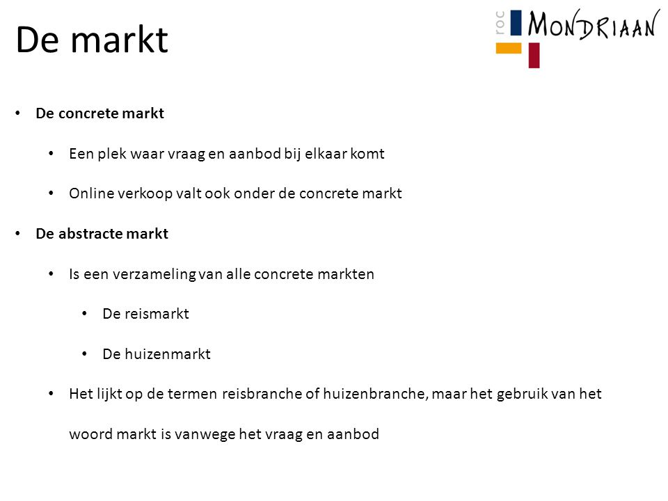De markt De concrete markt