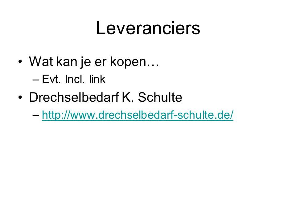 Leveranciers Wat kan je er kopen… Drechselbedarf K. Schulte