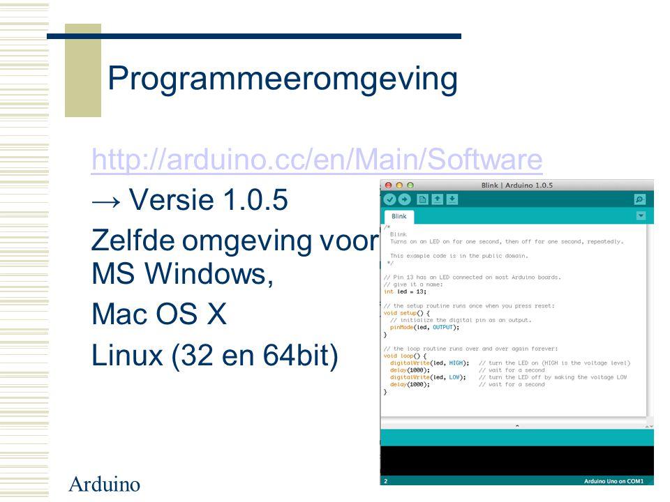 Programmeeromgeving http://arduino.cc/en/Main/Software → Versie 1.0.5