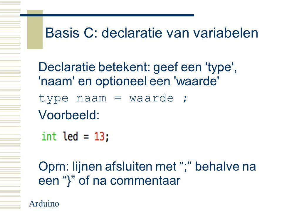 Basis C: declaratie van variabelen