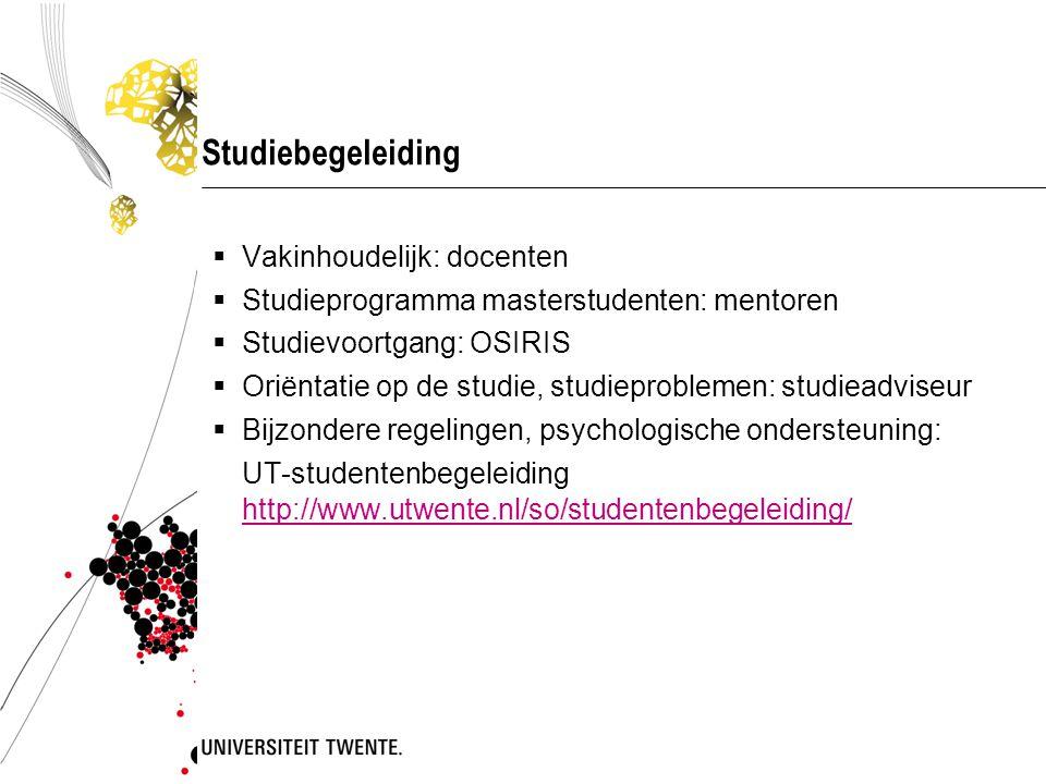 Studiebegeleiding Vakinhoudelijk: docenten