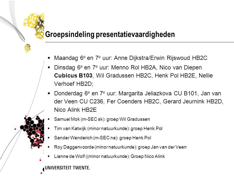 Groepsindeling presentatievaardigheden