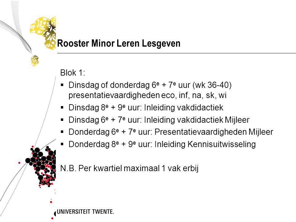 Rooster Minor Leren Lesgeven