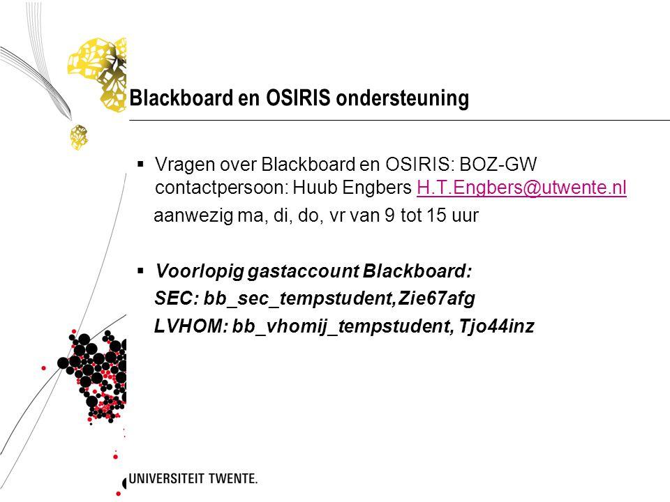 Blackboard en OSIRIS ondersteuning