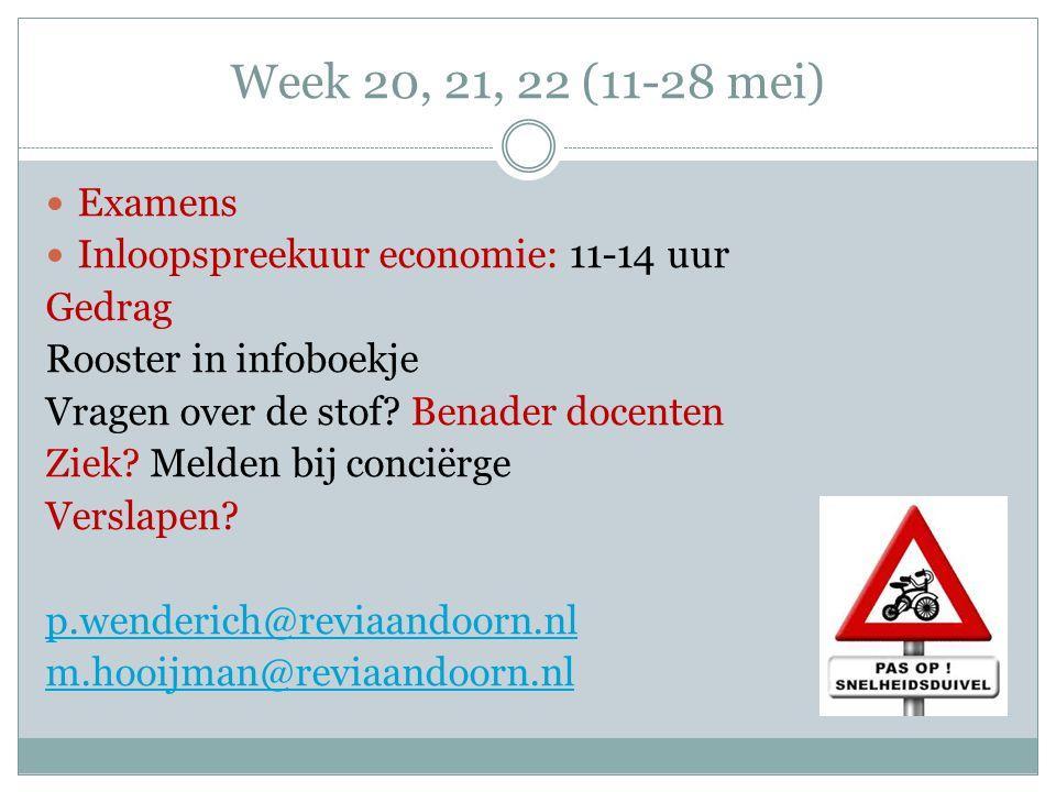 Week 20, 21, 22 (11-28 mei) Examens. Inloopspreekuur economie: 11-14 uur. Gedrag. Rooster in infoboekje.