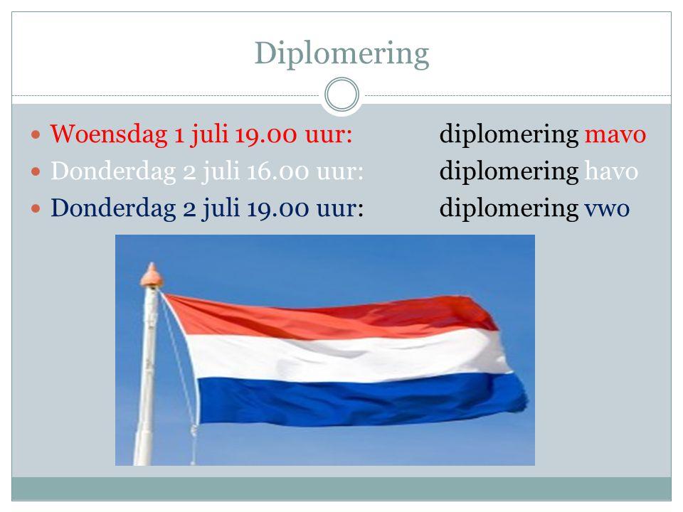 Diplomering Woensdag 1 juli 19.00 uur: diplomering mavo