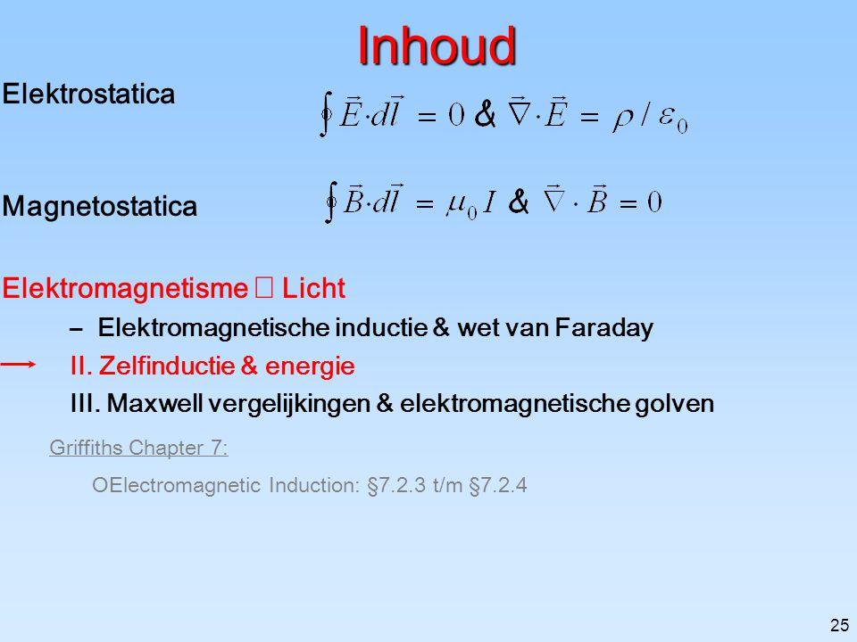Inhoud Elektrostatica Magnetostatica Elektromagnetisme Þ Licht