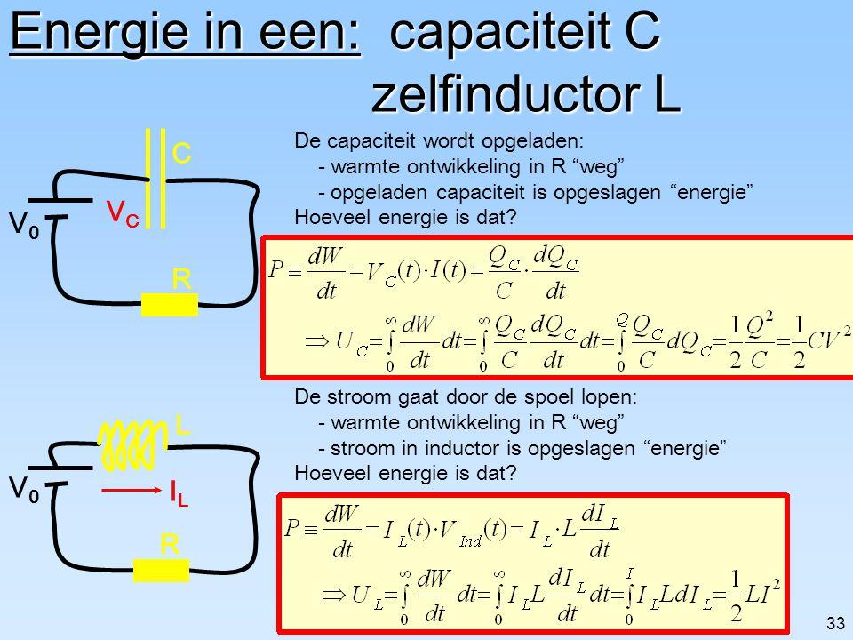 Energie in een: capaciteit C zelfinductor L