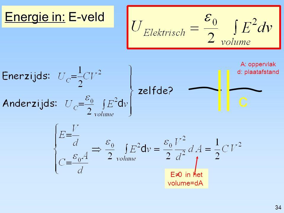 Energie in: E-veld A: oppervlak d: plaatafstand C E¹0 in het volume=dA
