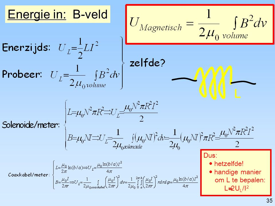 Energie in: B-veld L Dus: · hetzelfde! · handige manier
