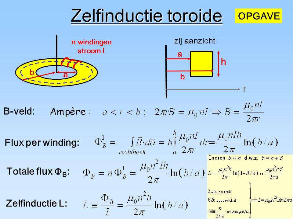 Zelfinductie toroide OPGAVE h r B-veld: ` Flux per winding: