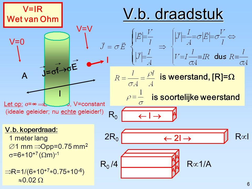 V.b. draadstuk V=IR Wet van Ohm A l V=0 V=V J=sf®sE I