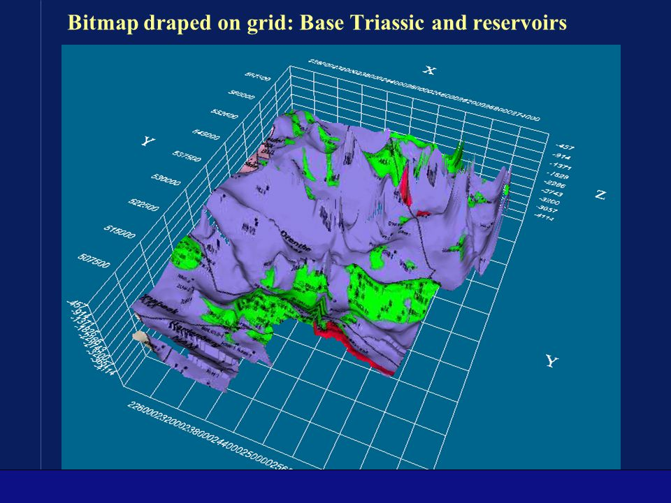 Bitmap draped on grid: Base Triassic and reservoirs