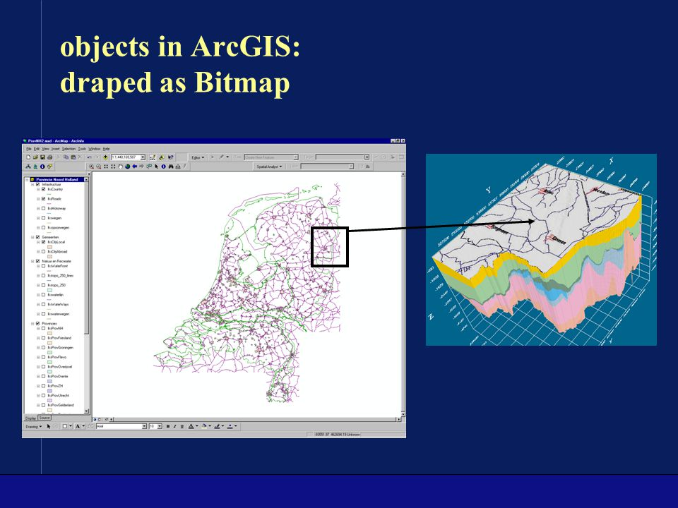 objects in ArcGIS: draped as Bitmap