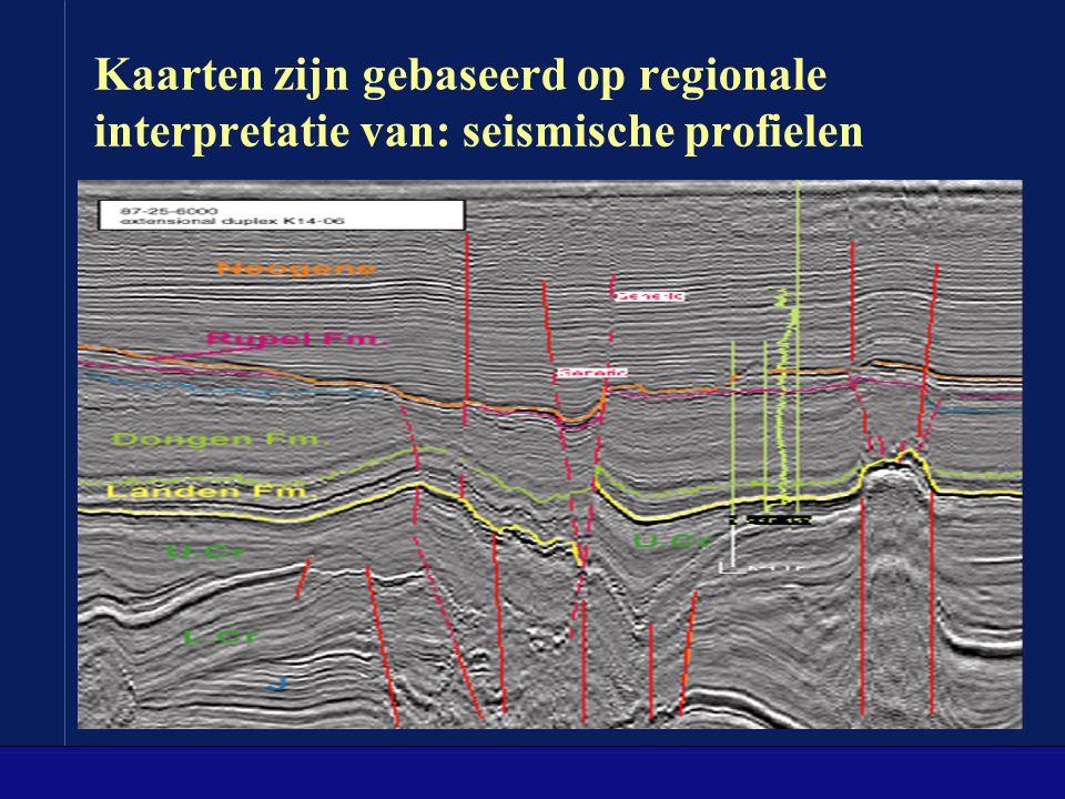 Kaarten zijn gebaseerd op regionale interpretatie van: seismische profielen