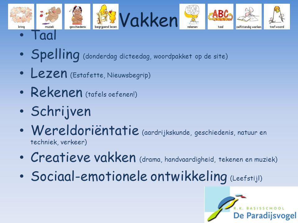 Vakken Taal Spelling (donderdag dicteedag, woordpakket op de site)