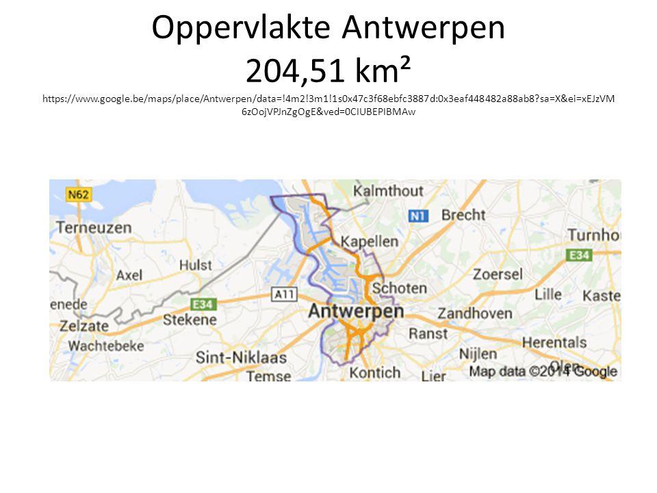 Oppervlakte Antwerpen 204,51 km² https://www. google