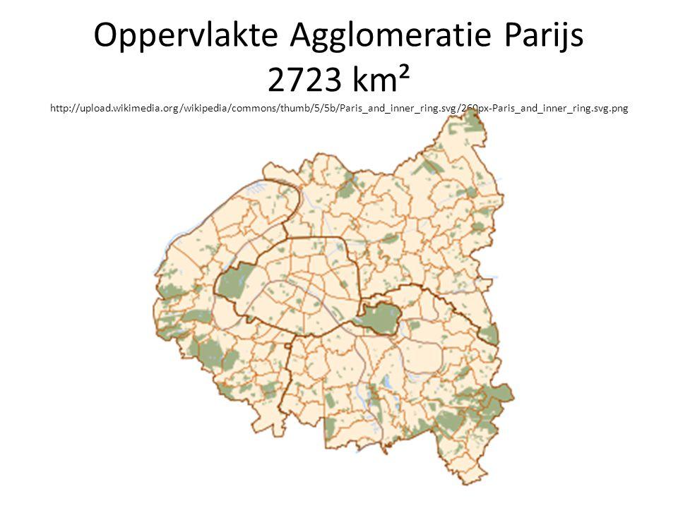 Oppervlakte Agglomeratie Parijs 2723 km² http://upload. wikimedia