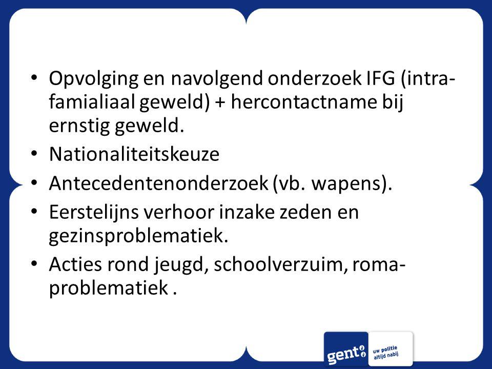 Opvolging en navolgend onderzoek IFG (intra-famialiaal geweld) + hercontactname bij ernstig geweld.