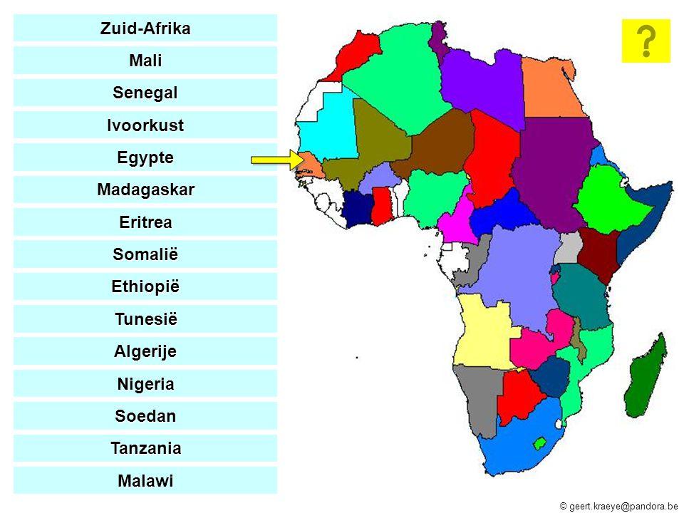 Zuid-Afrika Mali. Senegal. Ivoorkust. Egypte. Madagaskar. Eritrea. Somalië. Ethiopië. Tunesië.