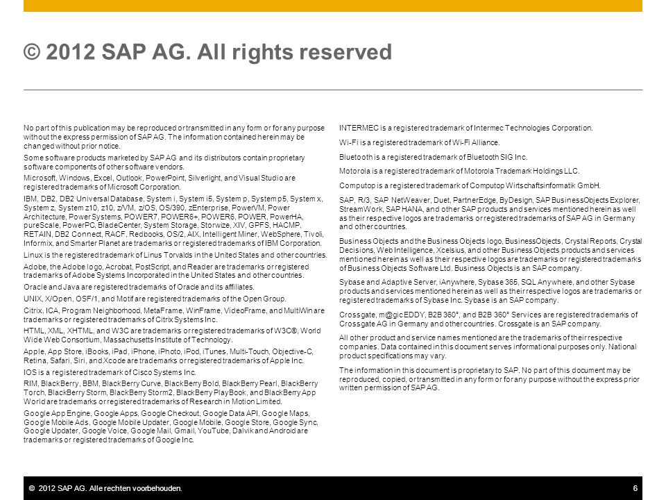 © 2012 SAP AG. All rights reserved