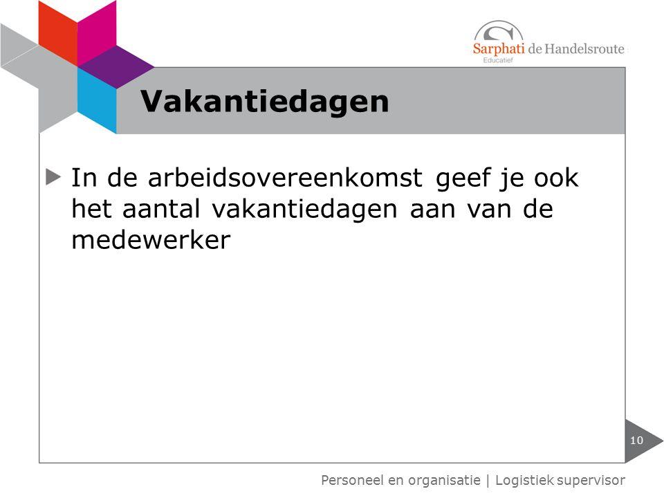 Vakantiedagen In de arbeidsovereenkomst geef je ook het aantal vakantiedagen aan van de medewerker.
