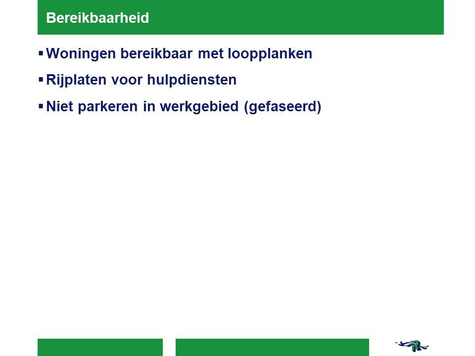 Bereikbaarheid Woningen bereikbaar met loopplanken.