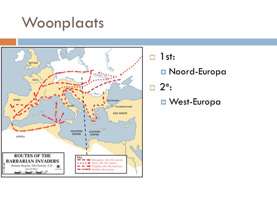 Woonplaats 1st: Noord-Europa 2e: West-Europa