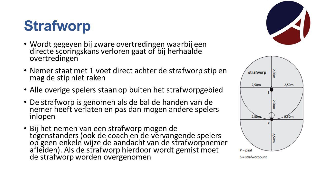 Strafworp Wordt gegeven bij zware overtredingen waarbij een directe scoringskans verloren gaat of bij herhaalde overtredingen.