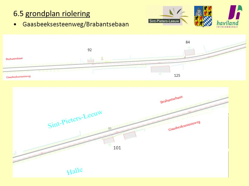 6.5 grondplan riolering Gaasbeeksesteenweg/Brabantsebaan 84 92 125 101