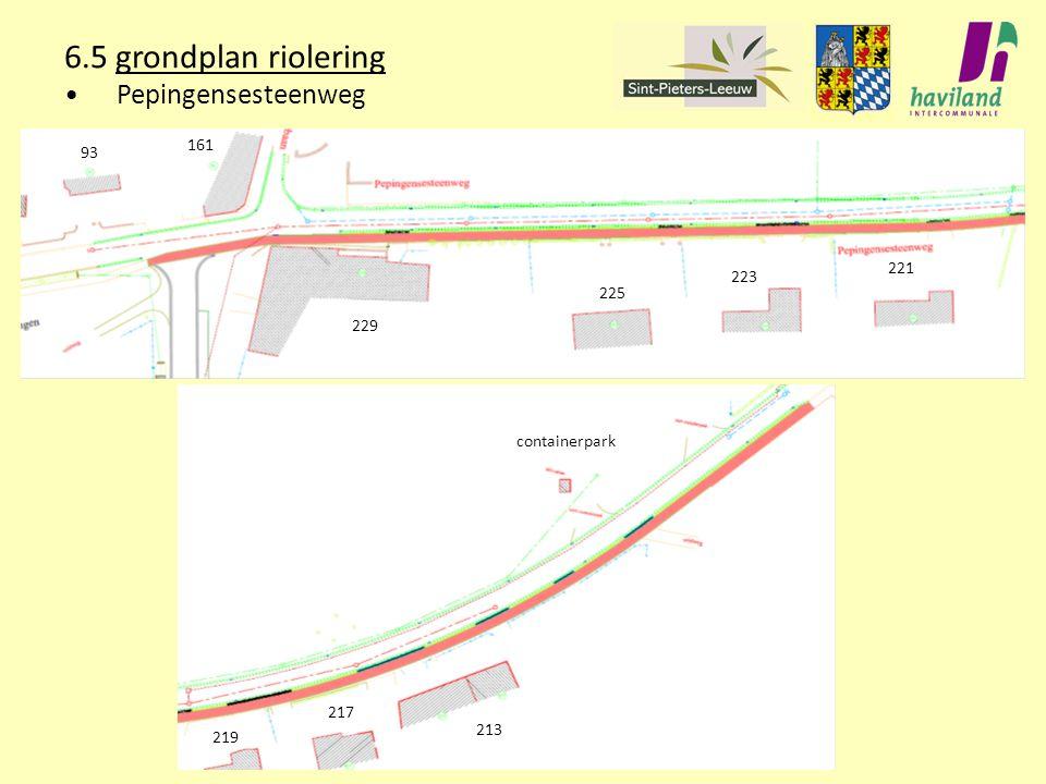 6.5 grondplan riolering Pepingensesteenweg 161 93 221 223 225 229