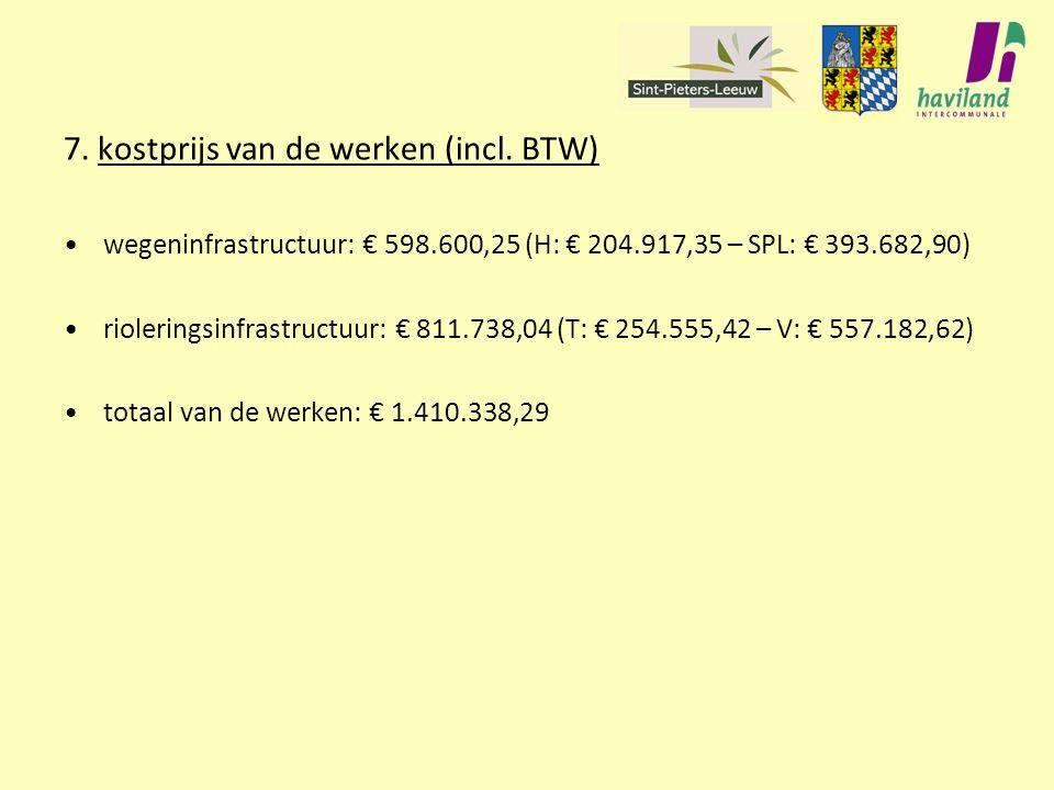 7. kostprijs van de werken (incl. BTW)