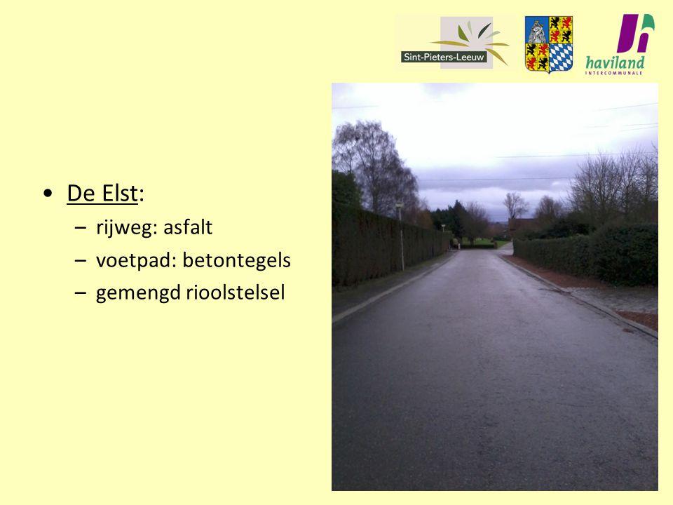 De Elst: rijweg: asfalt voetpad: betontegels gemengd rioolstelsel