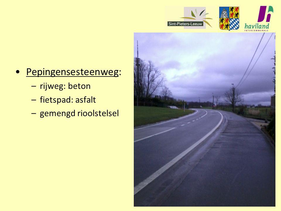 Pepingensesteenweg: rijweg: beton fietspad: asfalt
