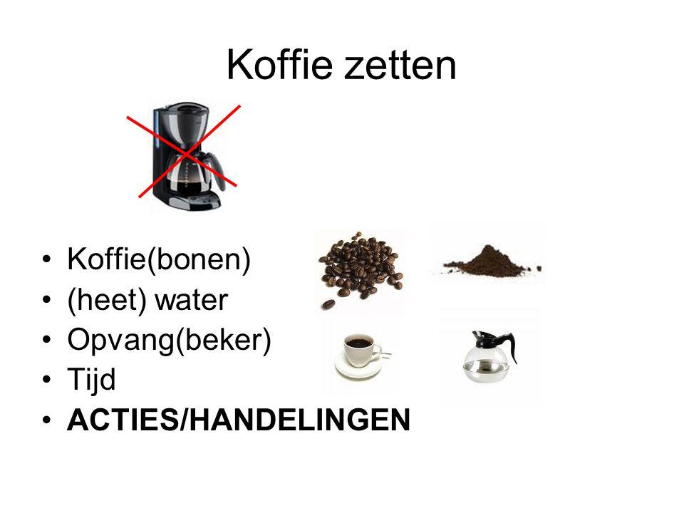 Koffie zetten Koffie(bonen) (heet) water Opvang(beker) Tijd
