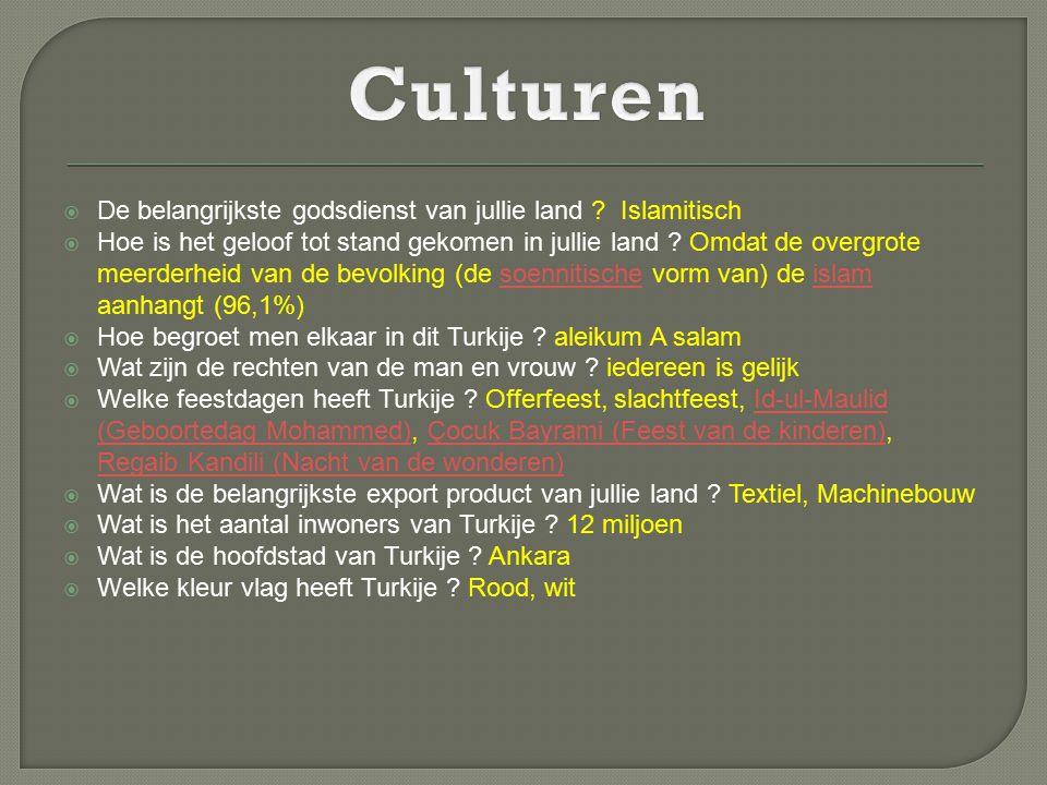 Culturen De belangrijkste godsdienst van jullie land Islamitisch
