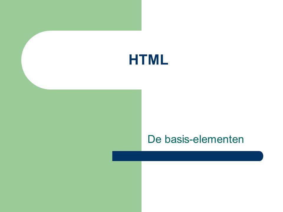 HTML De basis-elementen